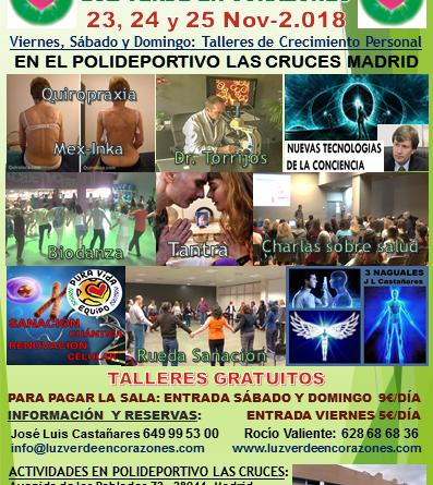 Cartel de las Conferencias de crecimiento personal en Madrid (23, 24 y 25 Noviembre 2018) organizadas por la Asociación sin ánimo de lucro 'Luz verde en corazones'