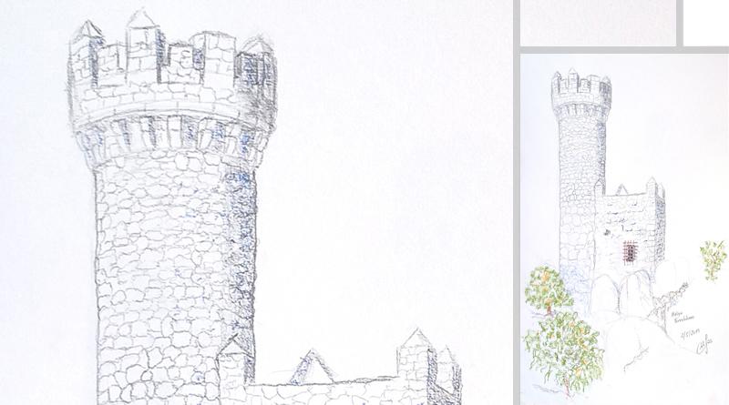 Atalaya de Torrelodones (Madrid) - Lápiz y pastel - (C) Roberto Sastre Quintano 2019 - LaDanzaVital.es