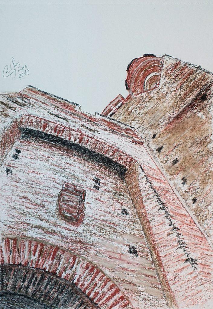 Castillo de la Mota. Contrapicado del la puerta de acceso al patio de armas y torre del homenaje