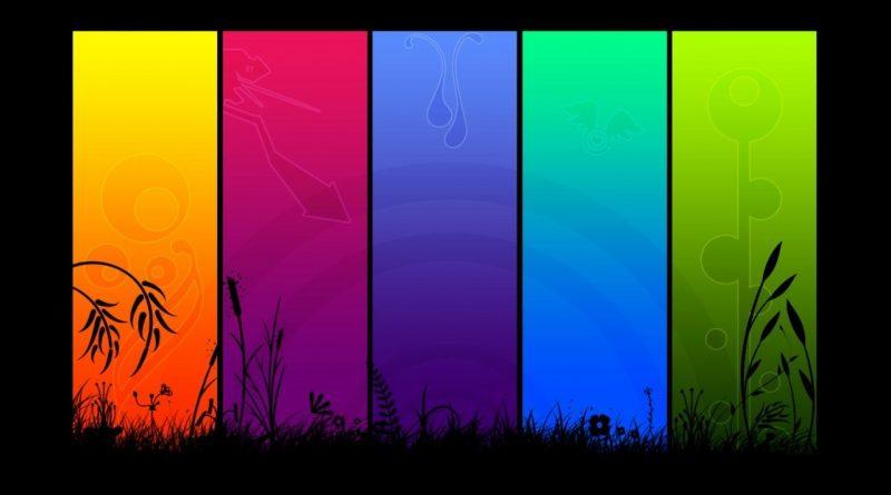 Etapas de la vida: Ilustración de horizonte de hierbas, en negro, segmentadas en rectángulos de colores.