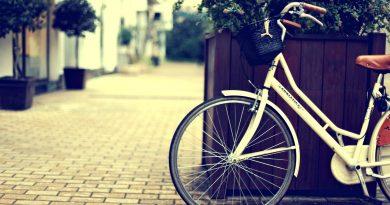 Bicicleta apoyada sobre gran maceta de madera en calle desierta y adoquinada