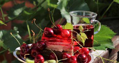 Refrigerio vital entre rojos y verdes:plato con cerezas, tarta de nata y fresa, infusión de frutos rojos. Fondo de grandes hojas verdes (Fuente: Pixabay.com)