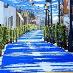 Calle alfombrada en azules y blancos, esperando recibir la procesión del Corpus