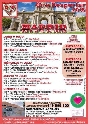 Gira Despertar España 2018 (Madrid, del 9 al 15 de julio de 2018) Programa del lunes 9 al viernes 13
