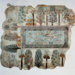 Jardín egipcio (pintura mural, tumba de Nebamun, dinastía XVIII)