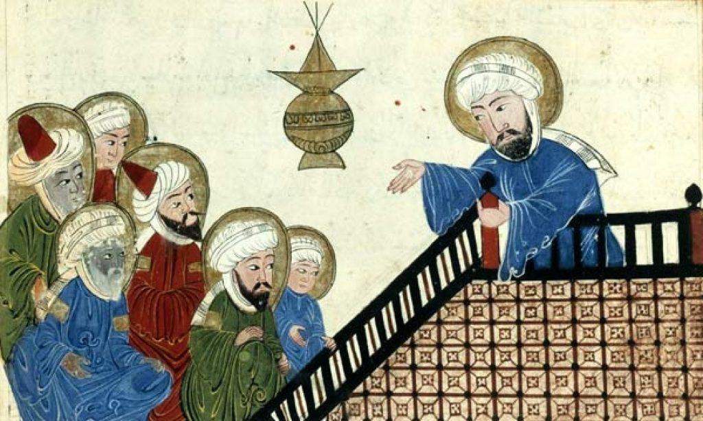 Pintura en la que aparece Mahoma enseñando a sus oyentes. Está subido en una escalinata.